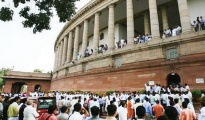 TMC members were also seen raising slogans in the Rajya Sabha
