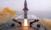This surface-to-surface nuclear-capable Dhanush missile was test fired from INS Subhadra